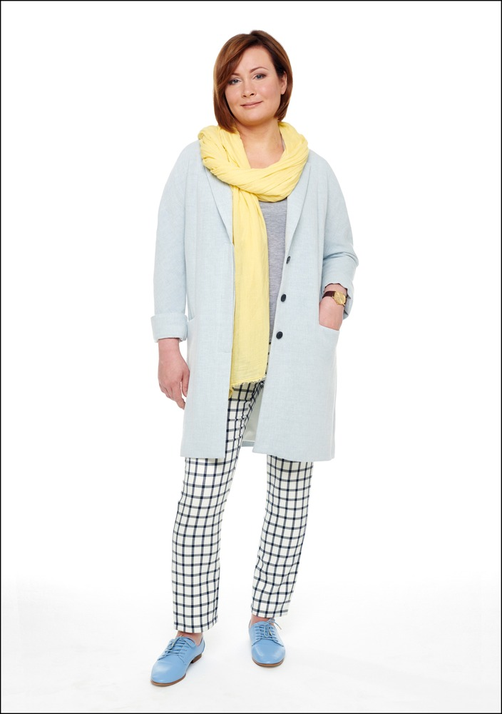 Комплект №2 . Полупальто, топ, брюки, шарф и туфли – Zara