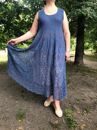 Фото. Платье шетландом узором из синего льна.   Автор работы - Shar1