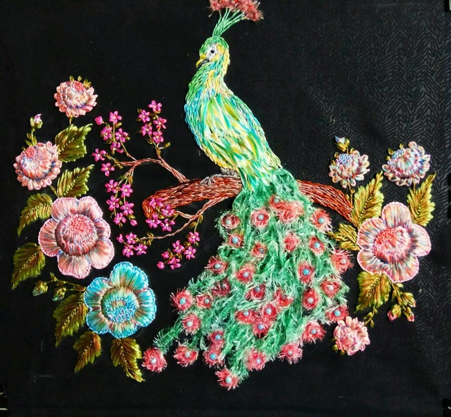 "Фото. ""Хохлома"", вышивка лентами.  Автор работы - babuliahak"