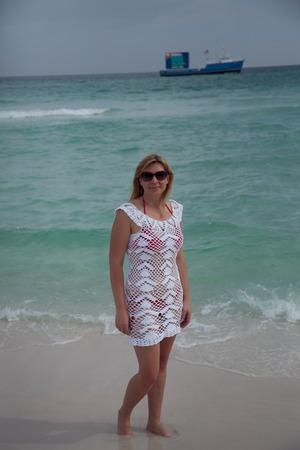 Фото. Вязаное ажурное пляжное платье.  Автор работы - dozhdik