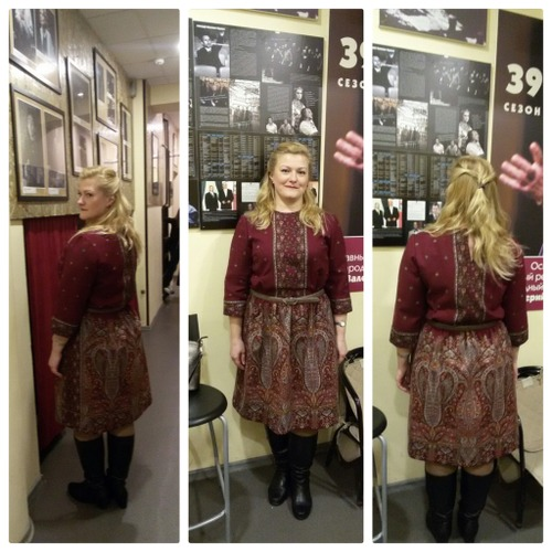 Фото. А это платье сшито из павло-посадких платков!