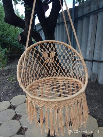 """Фото. Подвесное садовое круглое кресло-качели, шнур полипропиленовый с сердечником, диаметром 4 мм. Цвет """"Желтое золото"""" (400 м). Автор работы - OlgaFom"""