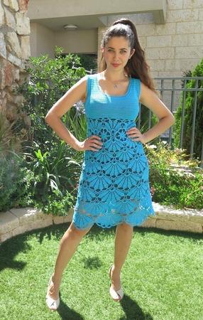 Фото. Платье из 400 грамм итальянских ниточек Liza Ornaghi Filati.  Автор работы - Megy