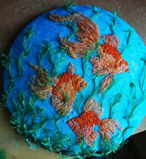 Фото. Золотые рыбки в аквариуме -  вышивка лентами.  Автор работы - babuliahak