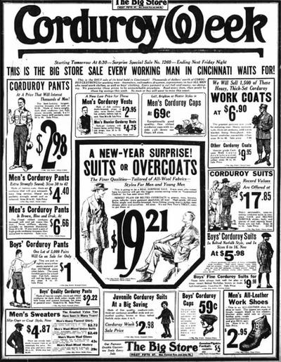 Фото. Рекламный проспект начала XX века посвященный неделе скидок на изделия с вельвета.