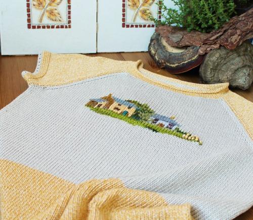 Фото. Домики. Машинное вязание + вышивка + отделка крючком.   Автор работы - innasun
