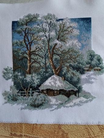 """Фото. Вышитая картина  """"Зима в деревне"""".  Автор работы - GalinaK2000"""