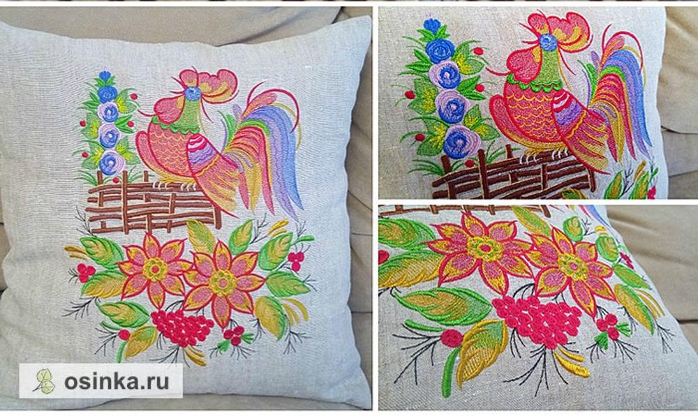 Фото. Петушок в стиле петряковской росписи. Дизайн машинной вышивки и автор работы - tufelllka