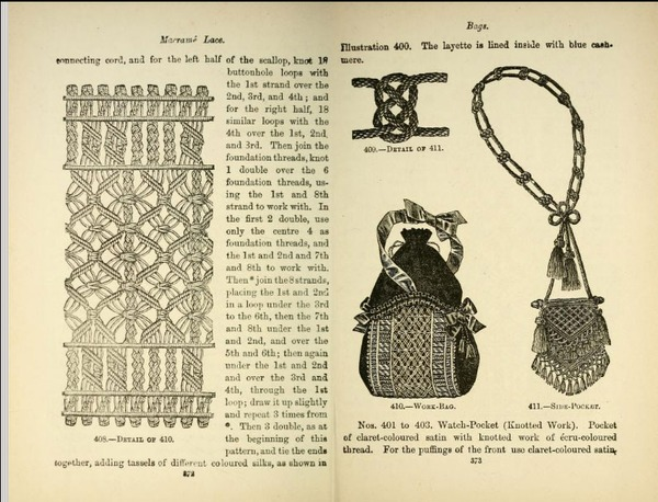 Фото. ...и страницы из книги Sylvia's book of macramé, издание 1890 г.