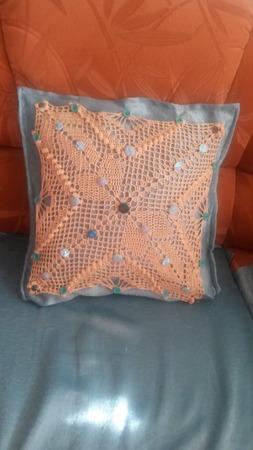 Фото. Наволочка, шитье + вязание.  Автор работы - Nadyne