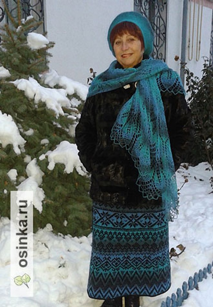 Фото. К Новому году - комплект из кауни аква. Автор работы - Крым Роза