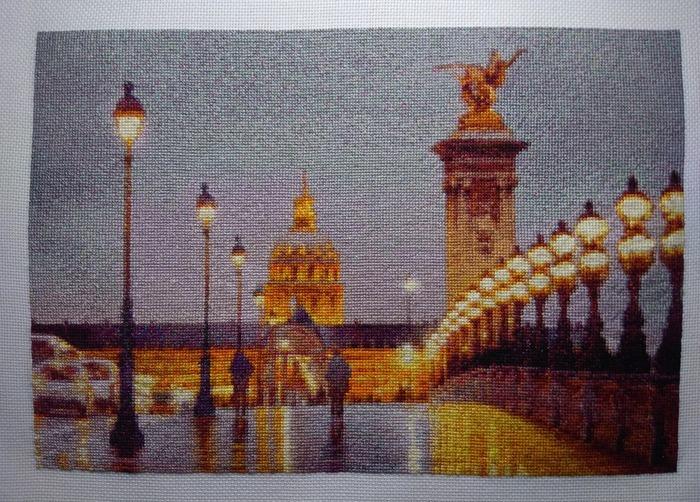 """Фото. Вышитая картина """"Ночь на мосту Александра III"""". Автор работы - Mimoza1"""