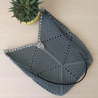 """Фото. Сумка """"Геометрия"""" для отпуска. Пряжа: Filati Tre Sfere Swan Black ( тонкий шнур из100% полипропилена)"""