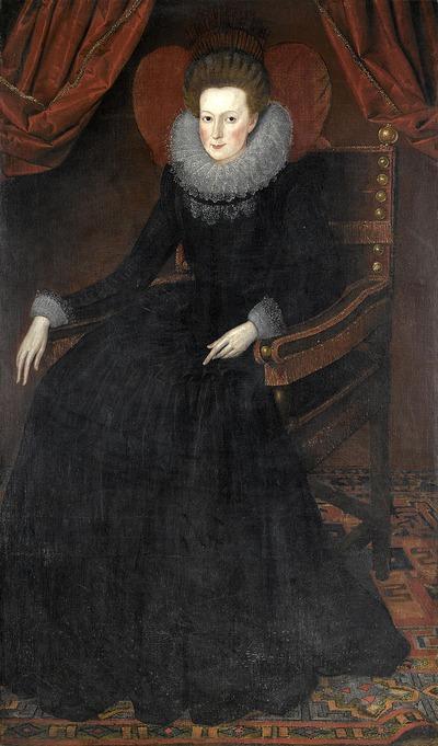 """Фото. Уильям Ларкин """"Портрет дамы в полный рост в черном платье с кружевным воротником"""", XVII в."""