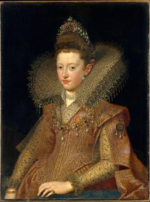 """Фото. Сперва воротники раф были отрыты спереди. Поурбус Франс младший (1569-1622) """"Margarita Gonzaga"""", 1602 г."""