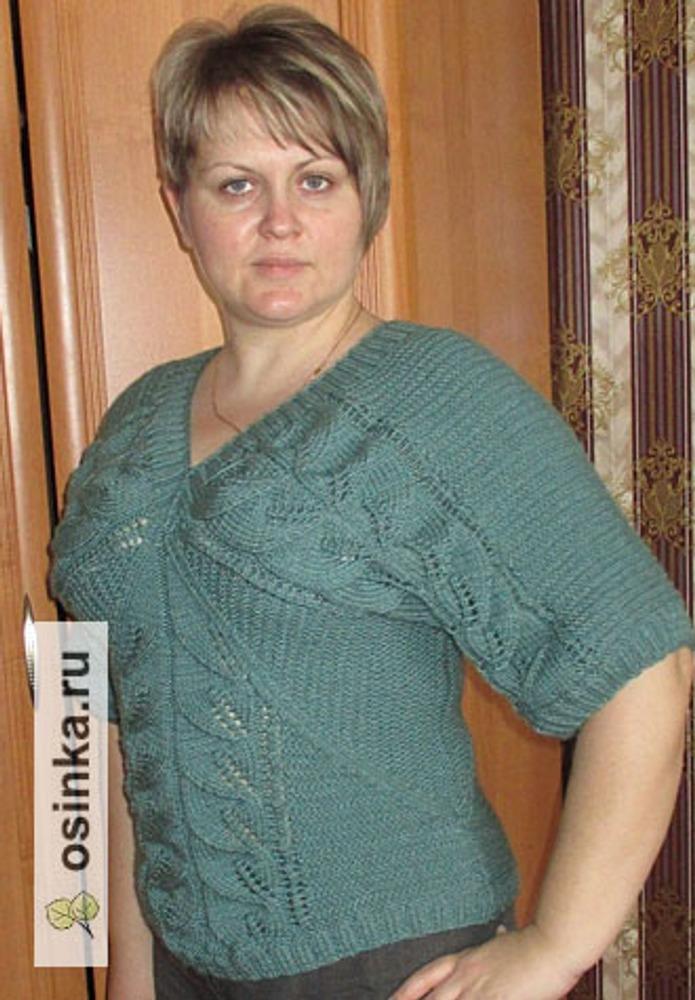 Фото. Пуловер с листиками.  Пряжа Nako Super Inch 100гр/180м цвет плесень.. Автор работы - Марушка