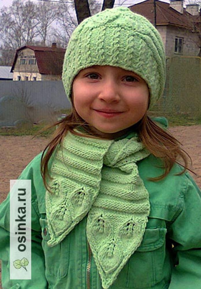 """Фото. """"Первые листочки"""". Комплект из шапки , шарфа и сумочки. Автор работы - yatsek"""