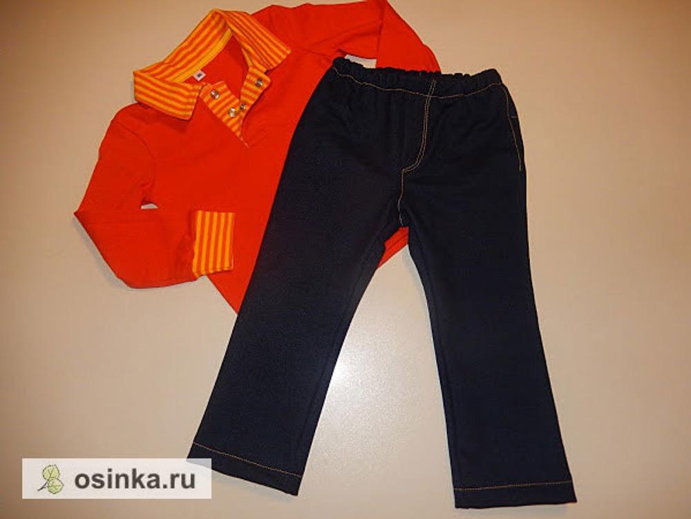 Фото. Простенькие трикотажные джинсы к футболке-поло с длинным рукавом.  Автор работы - Nulsik
