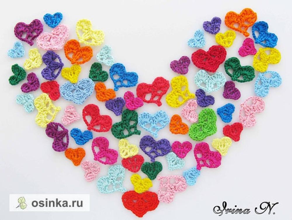 Фото. Сердечки связаны крючком из мулине. Готовимся к дню Святого Валентина!.  Автор работы - ИрЛандия