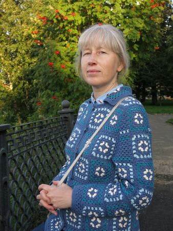 Фото. Синие кофты - моя слабость! Жакет-кардиган на основе бабушкиного квадрата.