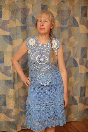 Фото. А сейчас я полюбила вязание мотивами. Топ к связанной ранее юбке.