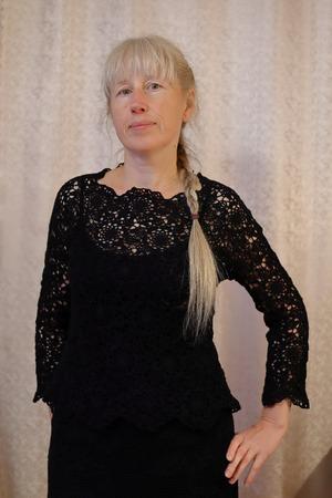 Фото. Кофточка к ранее связанной юбке. Маленькое-черное - (платье) костюм.
