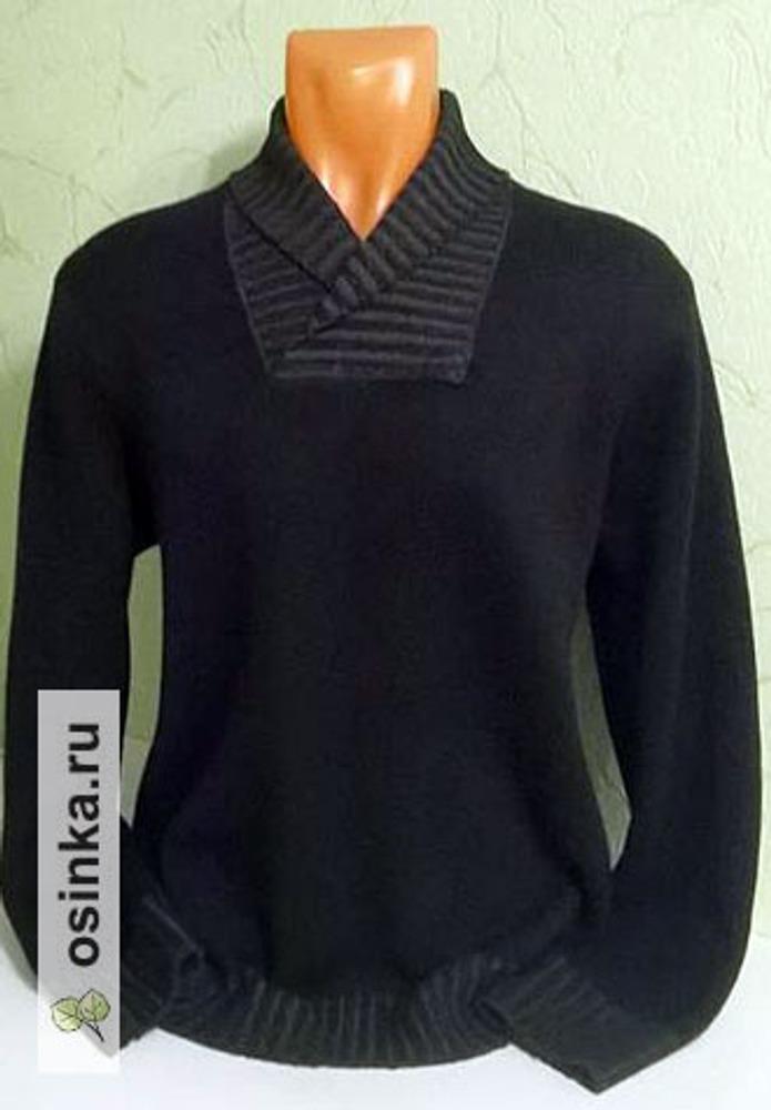 Фото. Мужской пуловер из двух смесовок меринос-кашемир. Машинная вязка.  Автор работы - Stavros2011