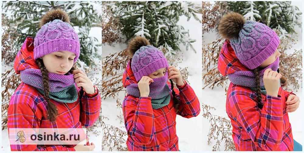 Фото. Шапка и снуд для дочери.Проба связать градиент. Пряжа Alize Lanagold 800. Автор работы - Vasileffa