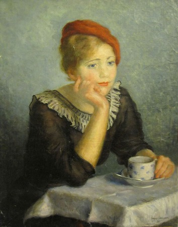 """Фото. Наум Соколинк """"Женщина в красном берете"""" 1937 г."""