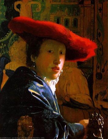 """Фото. Ян Вермеер """"Девушка в красной шляпе"""",  1665 г."""