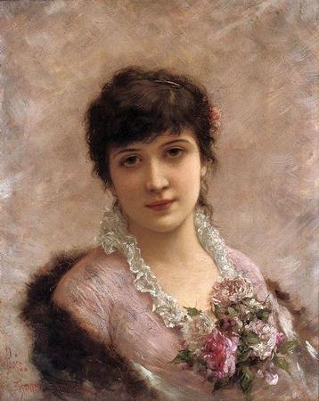 """Фото. Эмиль Эйсман-Семеновский (Emile Eisman-Semenowsky) (1857-1911) """"Женский портрет"""", нач.XX в."""