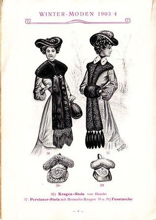 """Фото. Журнал мод (Германия), 1903 г . Меховые паланкины """"медвежьи лапы""""."""