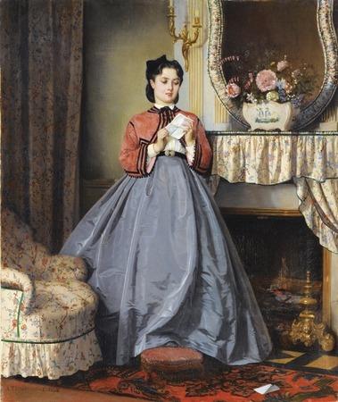 """Фото. Auguste Toulmouche (1829 - 1890) """"Près de la cheminée"""""""