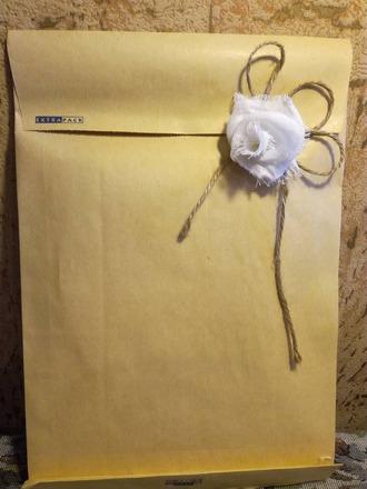 Фото. Машинная вышивка на дублерине и бант вместо печати.  Автор работы - Ain