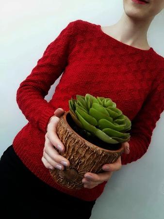 Фото. Красный свитер пряжа Вита Сапфир, спицы 3. Автор работы - macya9