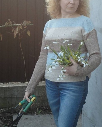 Фото. Весенний пуловер , пряжа ит.сток и Soffstar Melange от Сеам. Автор работы - L&Mb