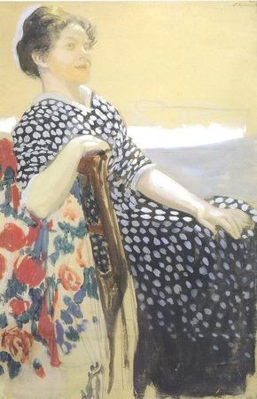 """Фото. Кустодиев """"А.П.Остроумова-Лебедева"""", 1910 г."""
