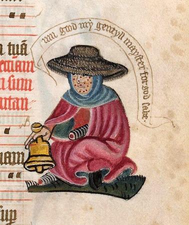 Фото. Прокаженный. Миниатюра начала XV в., Британская библиотека, Лондон.