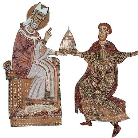 Фото. Константин и Сильвестр на фреске XIII в.