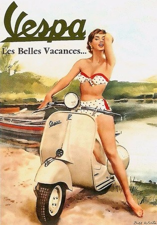 Фото. Рекламный постер компании Vespa, 1950-е гг.