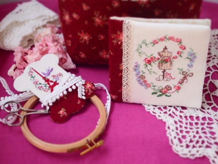 Фото. Весенние вышивки - игольница-книжка и катушка. Автор работы - venece