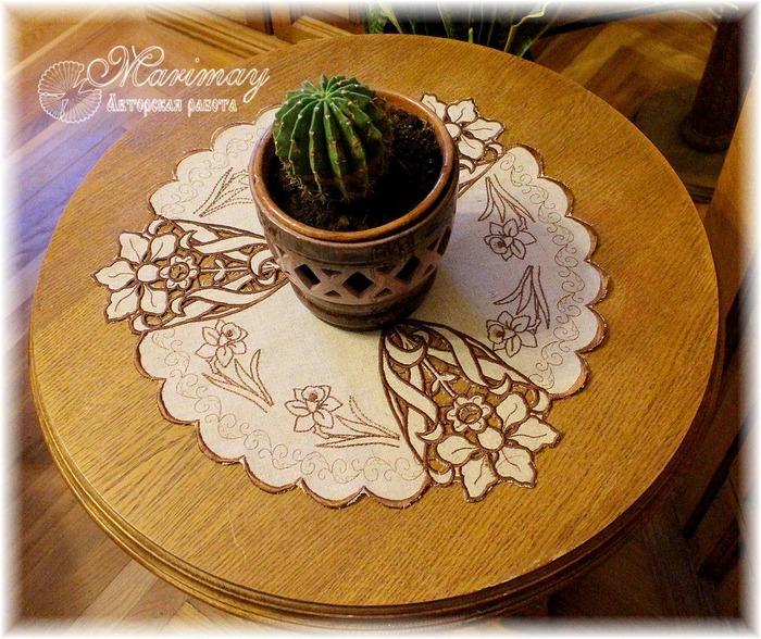 Фото. Весенняя салфетка с вышивкой-ришелье. Автор работы - marimay