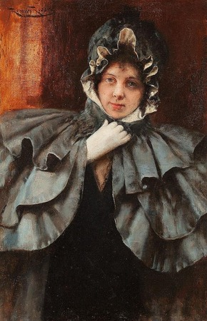 Фото. Женщина в пелерине на картине Roman Ribera Cirera (Spain, 1848 - 1935)