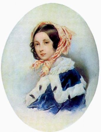 """Фото. Соколов П.Ф. """"Портрет неизвестной в голубой пелерине с горностаем"""", 1843 г."""