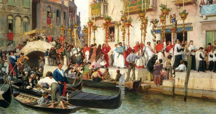 Фото. Ludwig Johann Passini (Austrian, 1832-1903) An Der Riva Dei Schiavoni Eine Prozession in Venedig