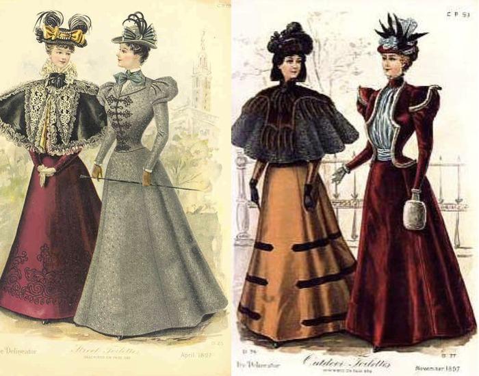 Фото. Дамские наряды с пелеринами из журнала The Delineator, 1897 г.
