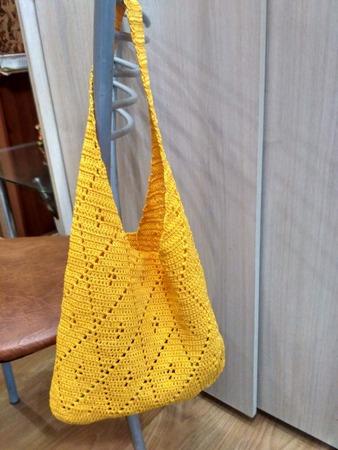 Фото. Вязанная сумка ромбы - ручная работа.  Автор работы - belajoxana