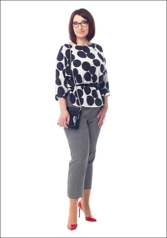 Комплект №1 . Топ и брюки – Marella. Туфли и сумка – «Эконика»