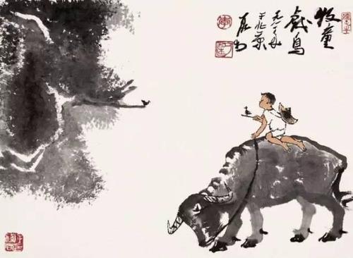 """Фото. Ли Керан (Li Keran) """"Пастушок, играющий с птичкой"""""""