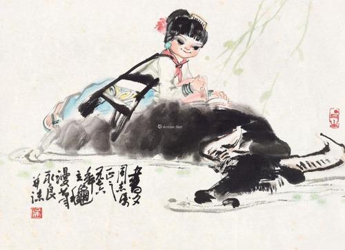 "Фото. У Юнлян  ( Wu Yongliang) ""Читать книгу на спине у буйвола"""